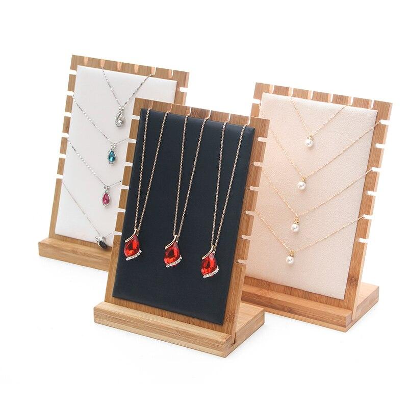 Mode Neue Bambus Schmuck Ständer Halskette Halter Anhänger Lange Kette Hängen Veranstalter Bord