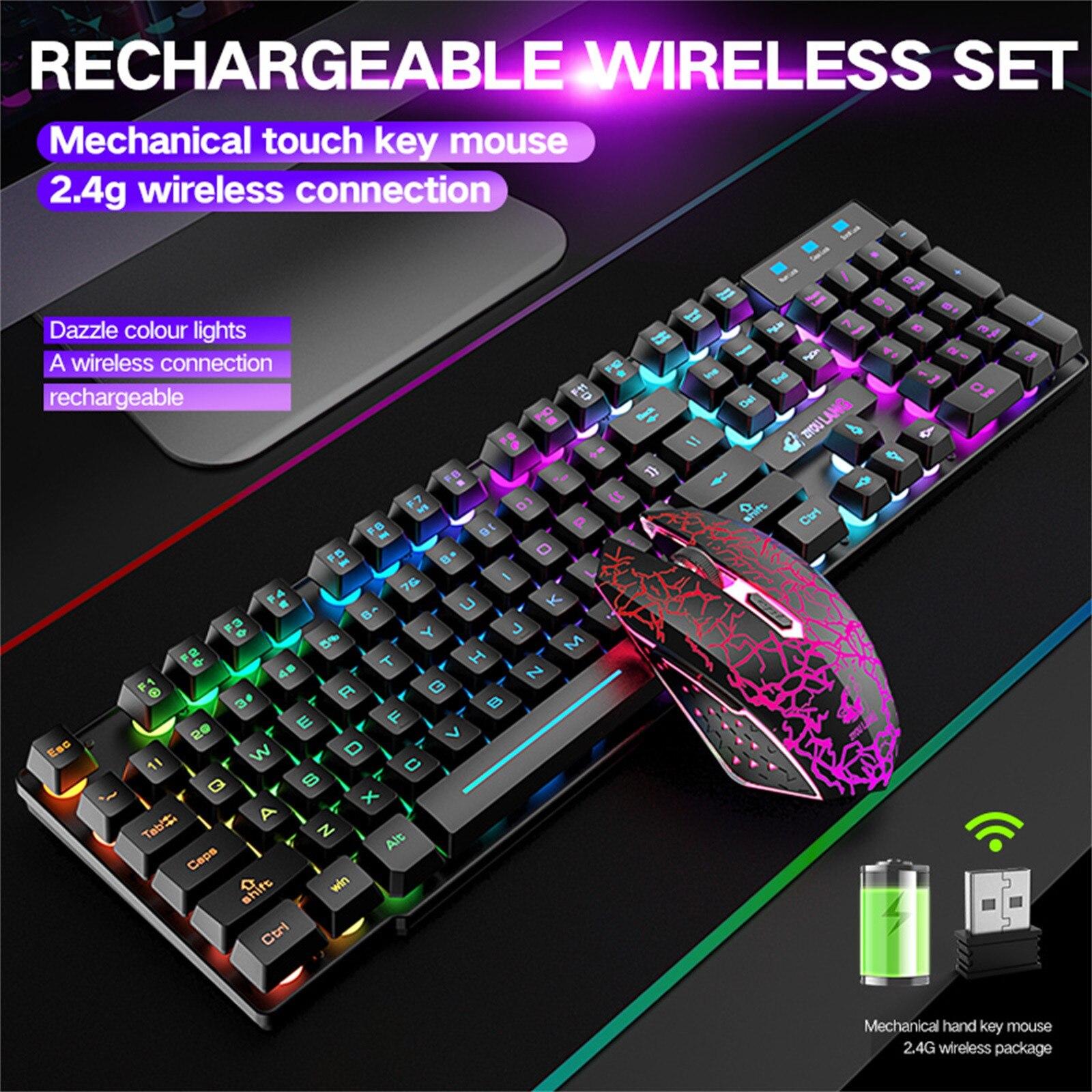 لوحة مفاتيح وماوس لاسلكي لألعاب الفيديو ، مجموعة مع إضاءة خلفية Led بألوان قوس قزح ، ملحقات ألعاب رياضية إلكترونية قابلة لإعادة الشحن