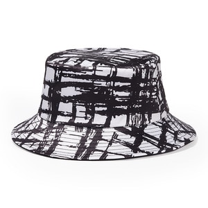 2 Two Sided Double Faced Faces Sides Fence Black White Graffiti Grid Check Adult Street Fashion Fisherman Bucket Hat Hats Beanie
