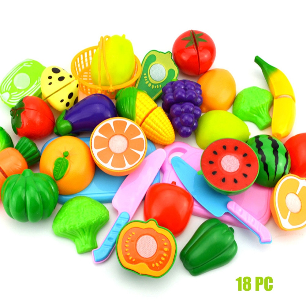 Baby Kids Toys 2017 Kids Pretend Role Play Kitchen Fruit Vegetable Food Toy Cutting Set Gift Birthday Christmas Gifts for Child