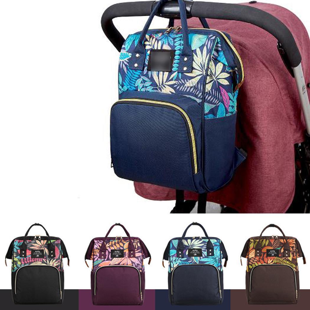 Floral Print Mummy Nappy Bags Large Capacity Baby Bag Travel Backpack Zip Black, Blue, Purple, Dark Brown