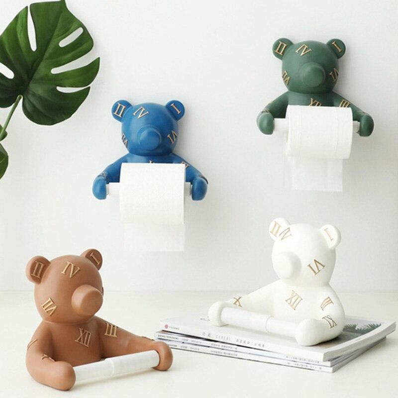 الراتنج الدب الحائط حامل ورق مرحاض حامل ورق المرحاض الحمام ديكور المنزل منشفة اليد بار المطبخ طبق شماعة القماش