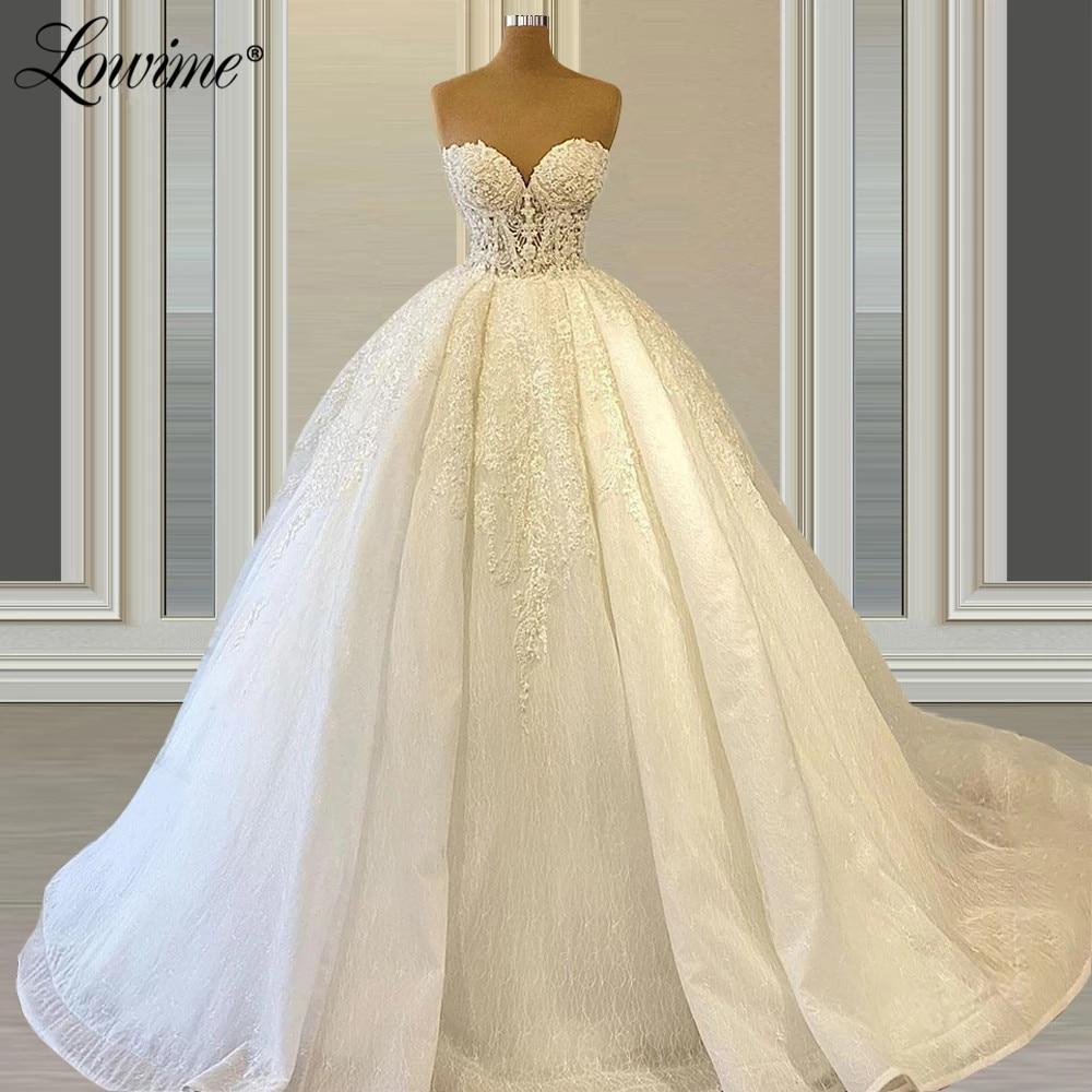 Lowime الأميرة الدانتيل زين فستان الزفاف Mariage ألف خط فستان عروس 2021 مخصص الزفاف زي العرائس Vestido De Noiva