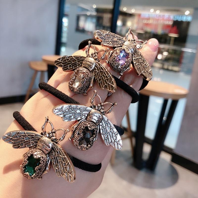 Retro abelha gem pérola metal laços de cabelo elástico faixas de cabelo para as mulheres flor colorido cristal acessórios para o cabelo rabo de cavalo corda headwear