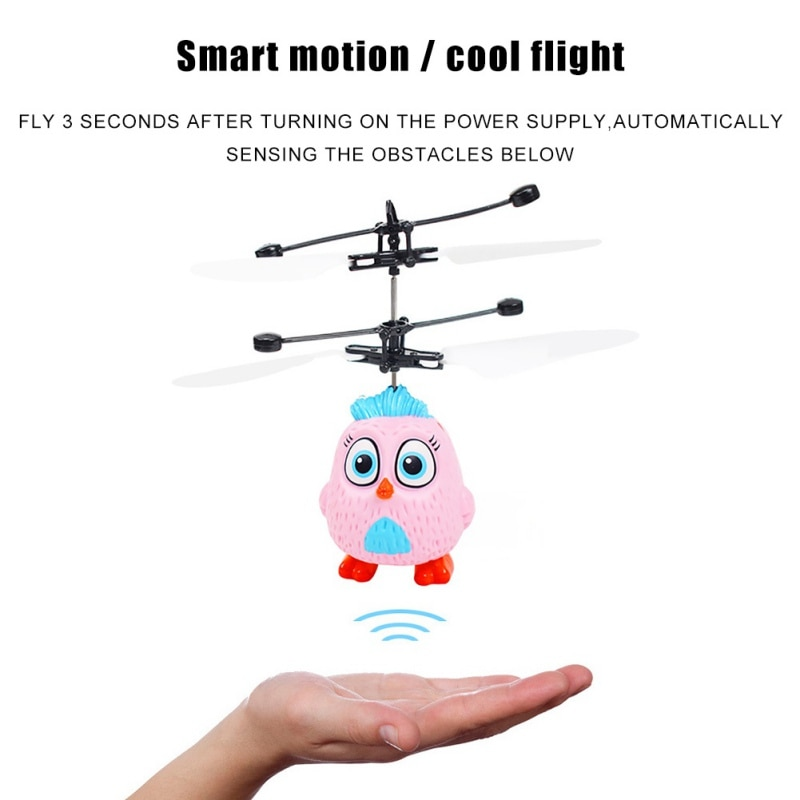 Cartoon Mini Helicopter Drone Infraed Gesture Sensing Aircraft Small Toys For Children for Home School Park Kids