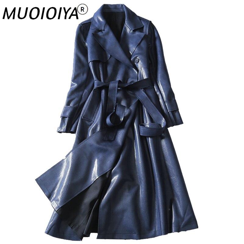 جديد 2022 ربيع الخريف خندق معطف المرأة عالية الجودة منتصف طول حجم كبير Suede الجلد المدبوغ سترة واقية الإناث ملابس خارجية 4XL