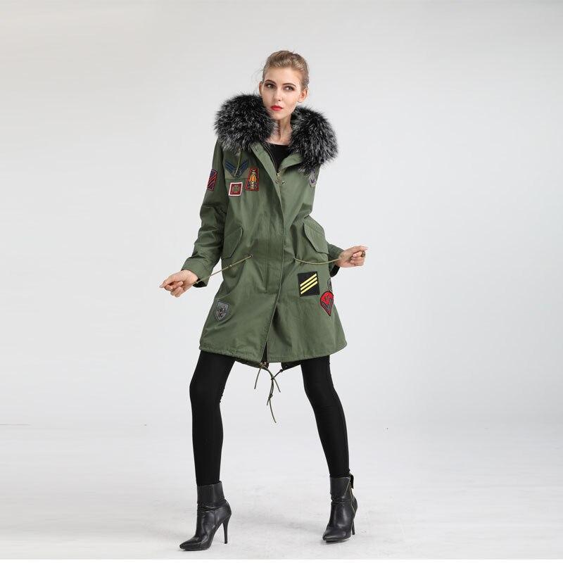 Chiny producent 2019 ręcznie wykonane patch futro szopa kołnierz na pięknym cape długa kurtka
