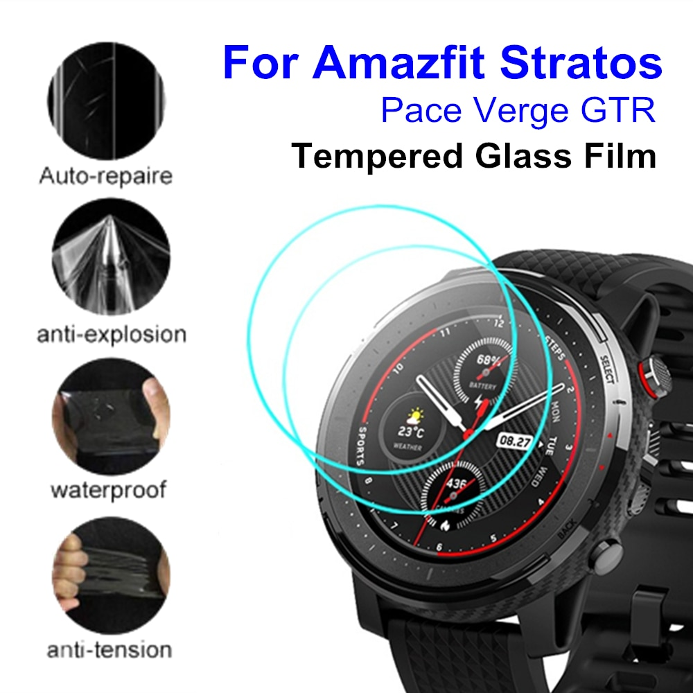 2pcs Tempered Glass/HD TPU Screen Protector Film Cover For Xiaomi Huami Amazfit Stratos 3 2 Pace Verge GTR 47mm 42mm Smart Watch