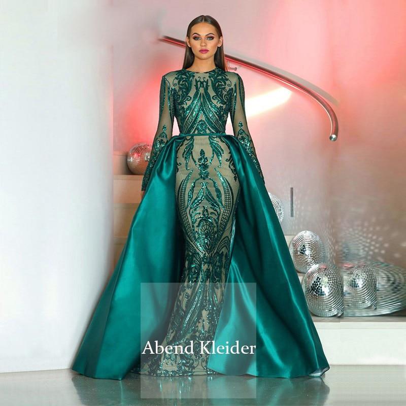 Manga larga musulmán sirena vestidos de noche 2020 Arabia Saudita Dubai Kaftan marroquí de encaje falda desmontable vestidos de baile con lentejuelas
