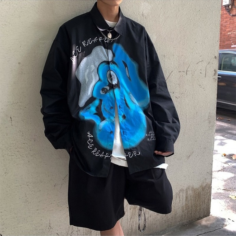 _ Мужская модная повседневная Свободная рубашка 2021 Harajuku, мужская одежда в стиле хип-хоп, японская Свободная рубашка, Мужская Уличная одежда