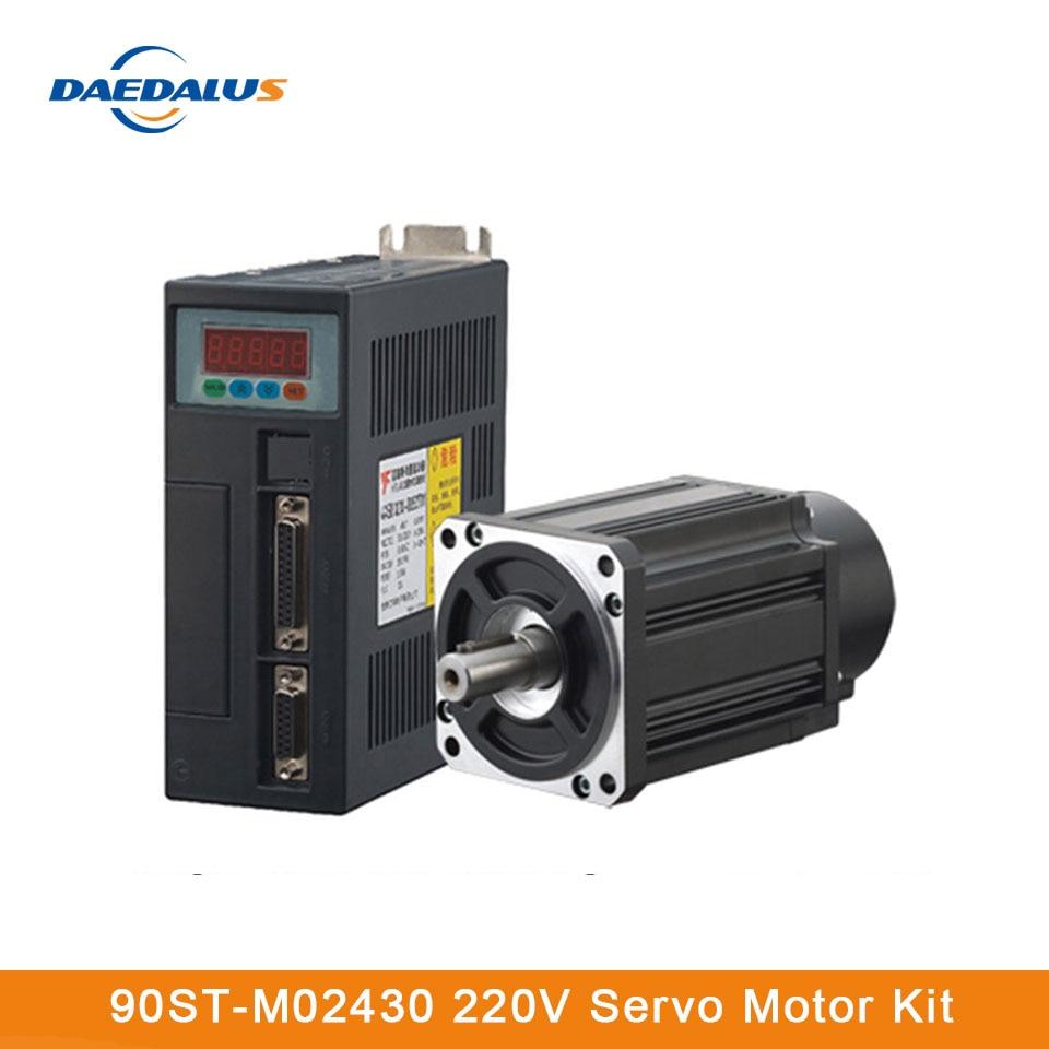 90ST-M02430 servomotor monofásico CA 220V 2.4N. M 0.75KW 15A servomotor con Cable 3M