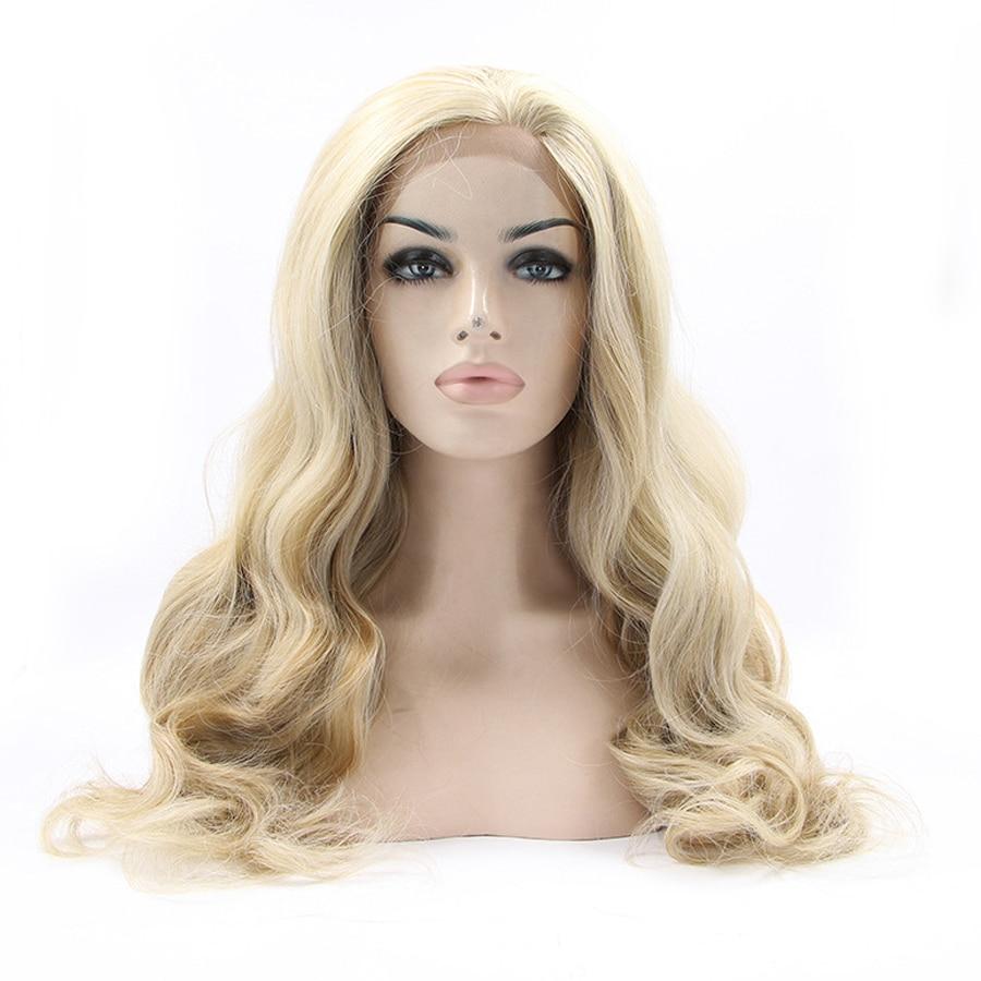 mel cor loira onda do corpo perucas sinteticas da parte dianteira do laco para cabelo