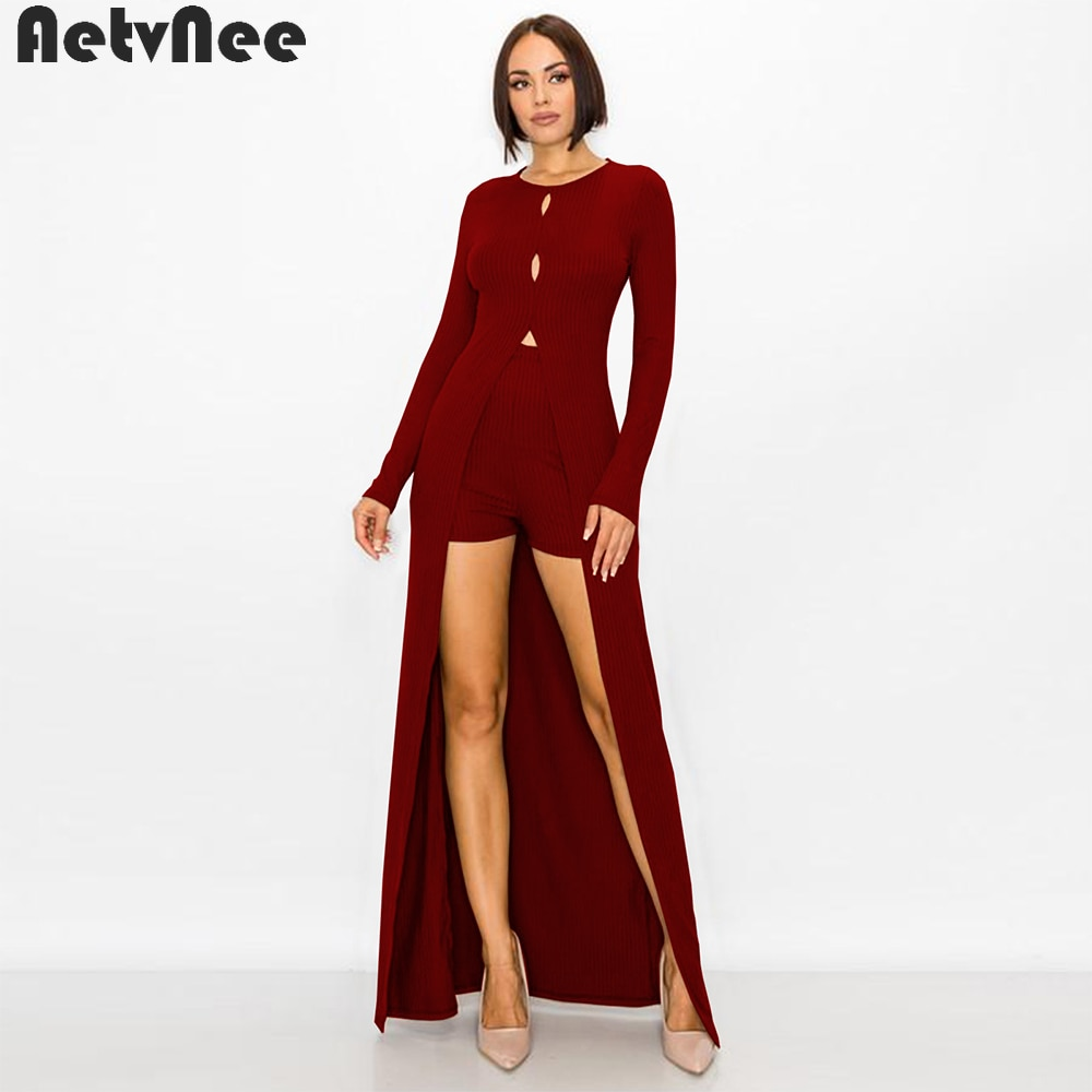 Herfst Winter Korte Sets Voor Vrouwen Twee 2 Delige Set X-Lange T-shirts + Stretchy Shorts Bijpassende Suits Clubwear streetwear Outfits