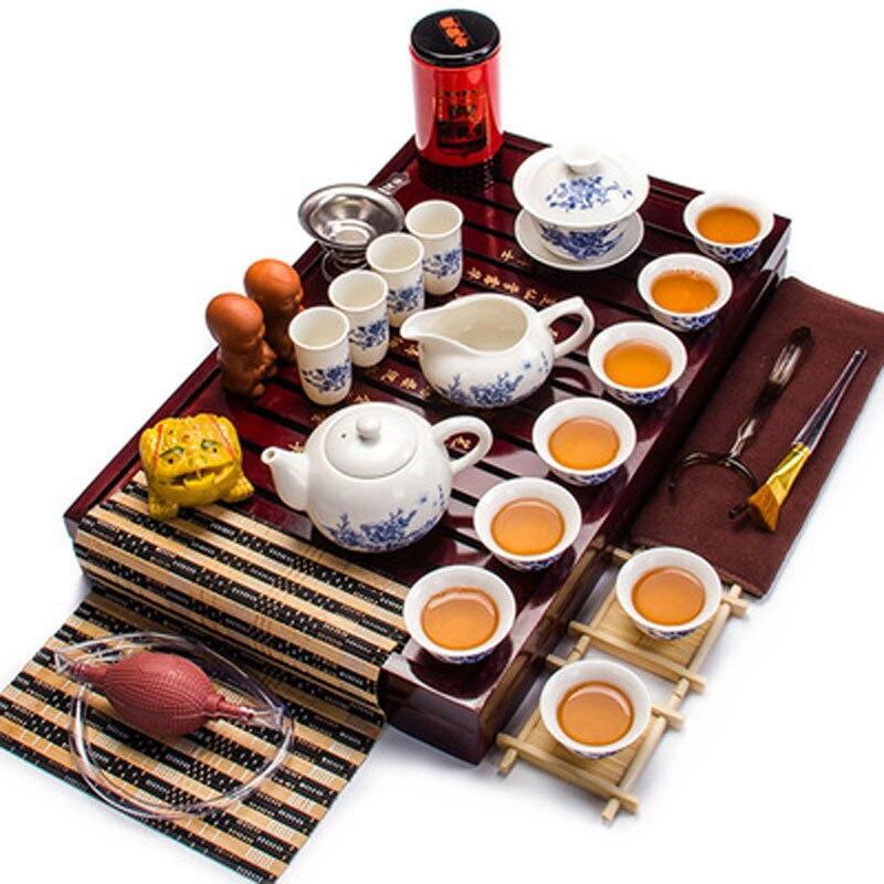 الصينية التقليدية الأبيض الخزف طقم شاي إبريق الشاي وأكواب غاي وان السيراميك الكونغ فو مجموعة كاملة من خشب متين صينية الشاي Cremony