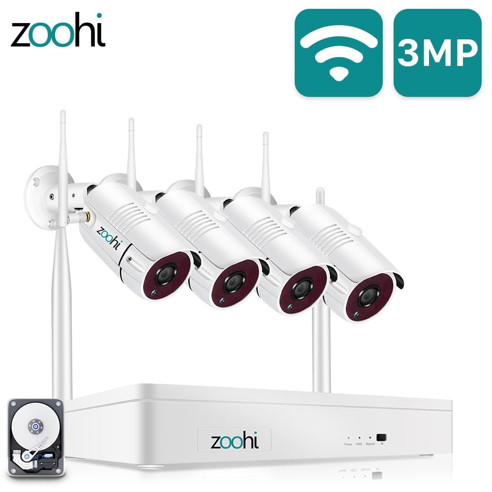 Zoohi اللاسلكية 8CH NVR نظام عدة 1296P 3MP HD واي فاي كاميرا أمنة للبيت نظام الكاميرا للرؤية الليلية طقم مراقبة الفيديو