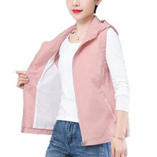 Double Layer Women Vest Spring Summer Waistcoats Hooded Air Conditioner Thin Sun Protection Vest Lad