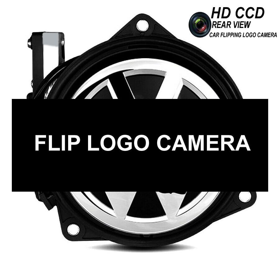 Car Flip Logo Reverse Camera for Volkswagen VW Golf 5/6 MK6 Passat B6 CC B7 B8 Golf 7 Emblem Rear View Camera RGB CVBS CCD