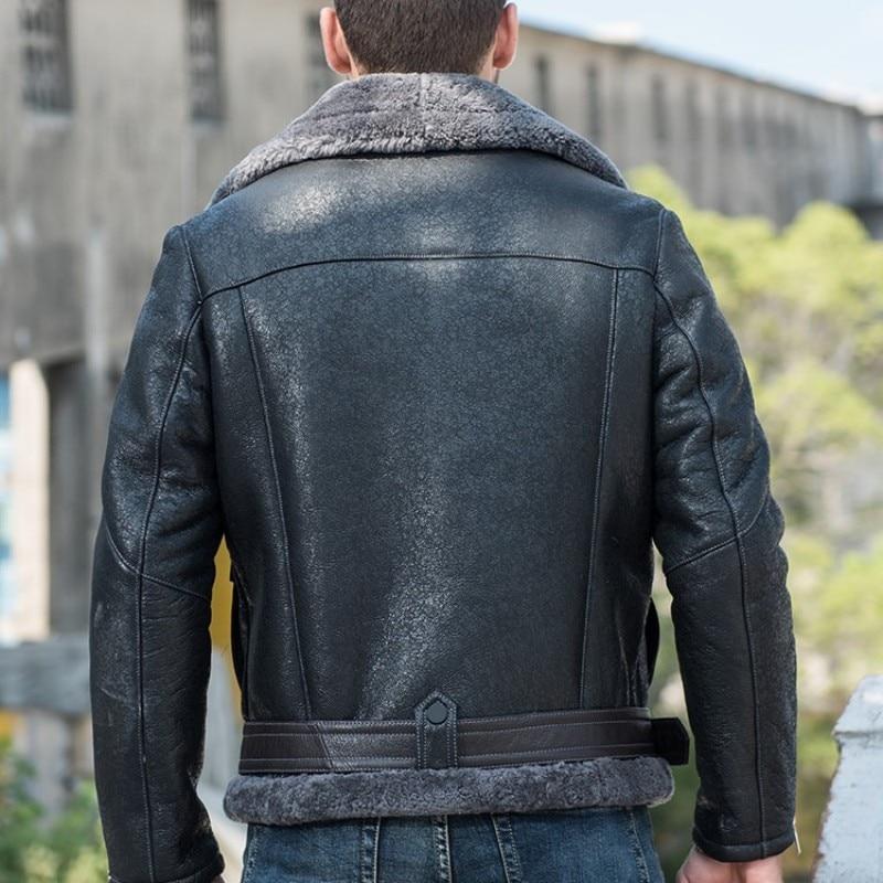 Italy Motorcycle Mens Biker Genuine Leather Jacket Real Fur Lining Warm Shearling Overcoat Aviator Jacket Slim Fit Military Coat