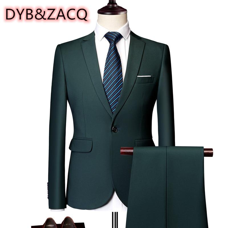 كبير ياردة الكلاسيكية الرجال دعوى 2021 مخصص بلون سليم الأعمال فستان العريس ملابس الزفاف عالية الجودة سهرة/2 قطعة