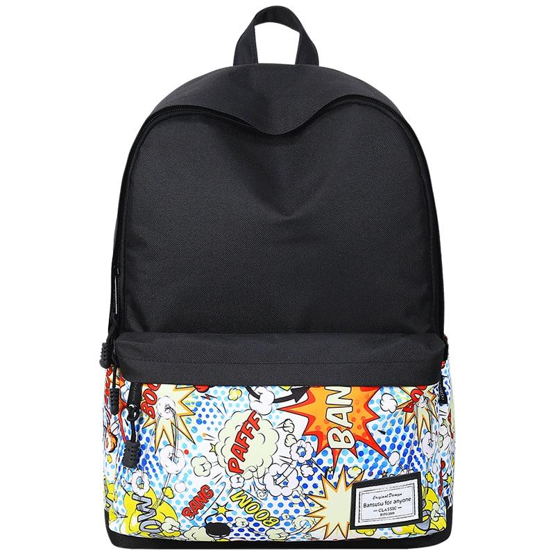 Fashion Printed Backpack Women Canvas School Bag For Teenage Girl Student Bookbag Travel Laptop Back Bag  Black Bagpack Rucksack corduroy women backpack bookbag laptop daypack college travel school shoulder bag for teenage girl f42a