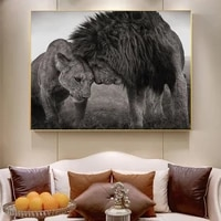 nordic black african lions canvas paintings on the wall art posters and prints lion head to head art pictures home decoration