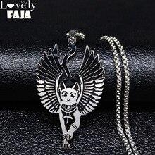 Egypte chat Bastet acier inoxydable ancien égyptien Wiccan égyptien Sphinx chat Bastet collier aile amulette Talisman bijoux N3219
