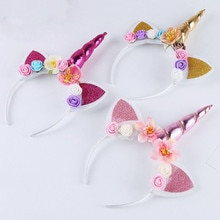 2021 Brand New Hot Fashion Magical Unicorn Horn Floral Head Party Kid Headband Fancy Dress Decorativ
