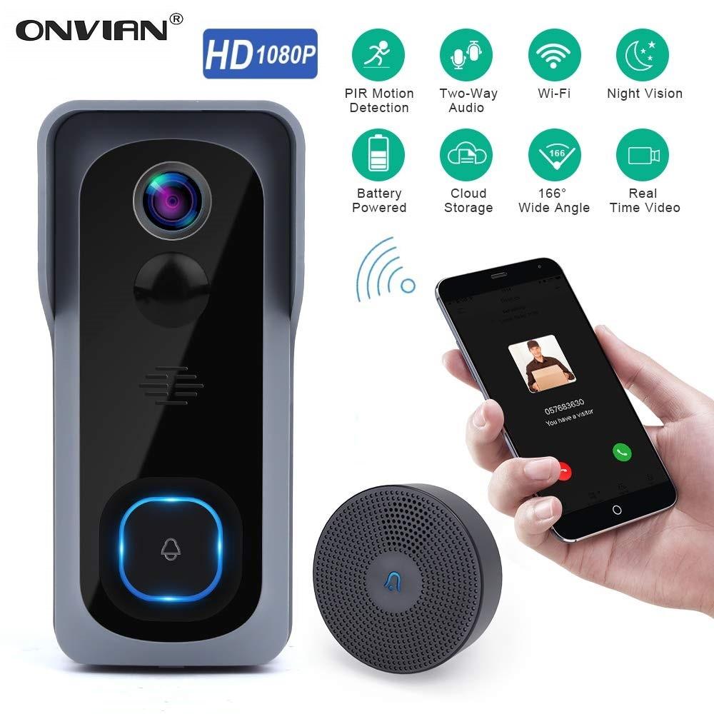 Onvian WiFi Doorbell Camera Waterproof 1080P HD Video Door Bell Motion Detector Smart Wireless Doorb