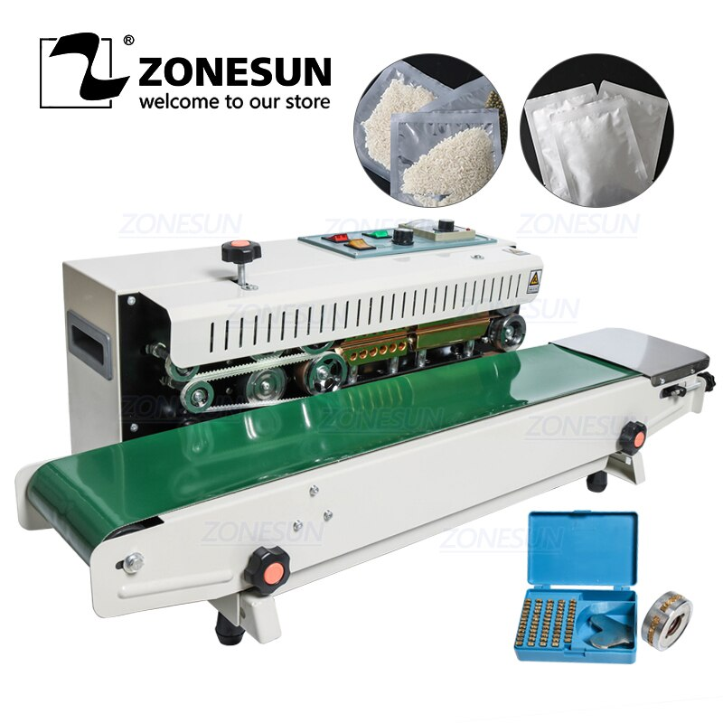 ZONESUN FR-900 المعادن مع رذاذ الجدول نوع المستمر السدادة حقائب بلاستيكية آلة الختم مع الحزام الناقل للأغذية كيس شاي