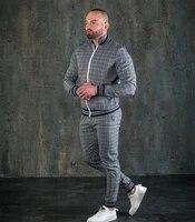 mens fashion sports zipper jacket long sleeve stripe pants fitness casual sportswear suit