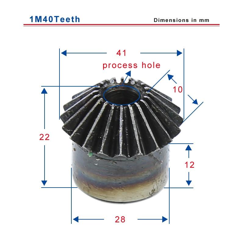 1M40 الأسنان شطبة والعتاد القطر الخارجي 41 مللي متر الارتفاع الكلي 22 مللي متر عملية ثقب منخفض الكربون الصلب المواد والعتاد