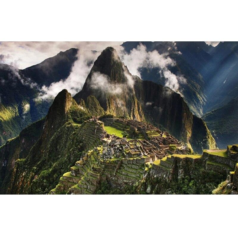 Pintura diamante machu picchu peru montanhas nuvens paisagem imagem de strass diy diamante bordado mosaico artesanato r1513