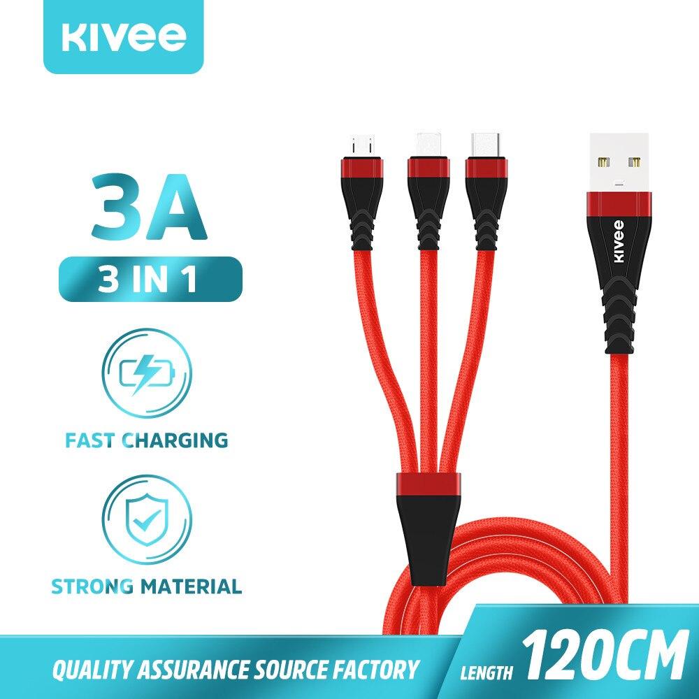 KIVEE 3 en 1 Cable de cargador USB Micro USB tipo C para iPhone 7 8 X Plus Samsung Xiaomi Android USB rápido Cables de carga de Cable de datos
