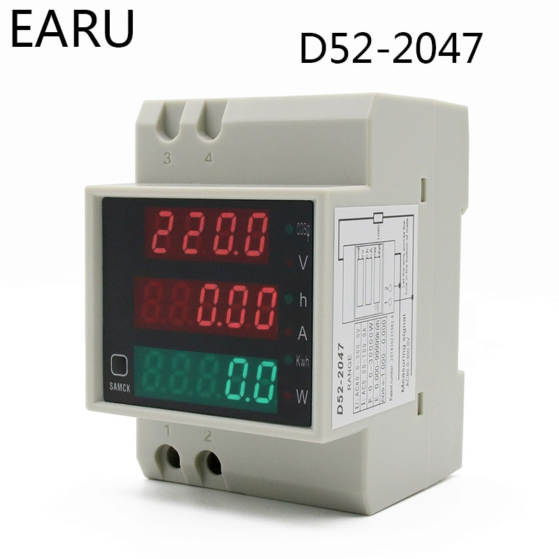 Medidor Digital LED multifunción carril DIN AC 80-300V 200-450V 0-100A Factor de potencia activo amperímetro de energía eléctrica voltímetro DIY