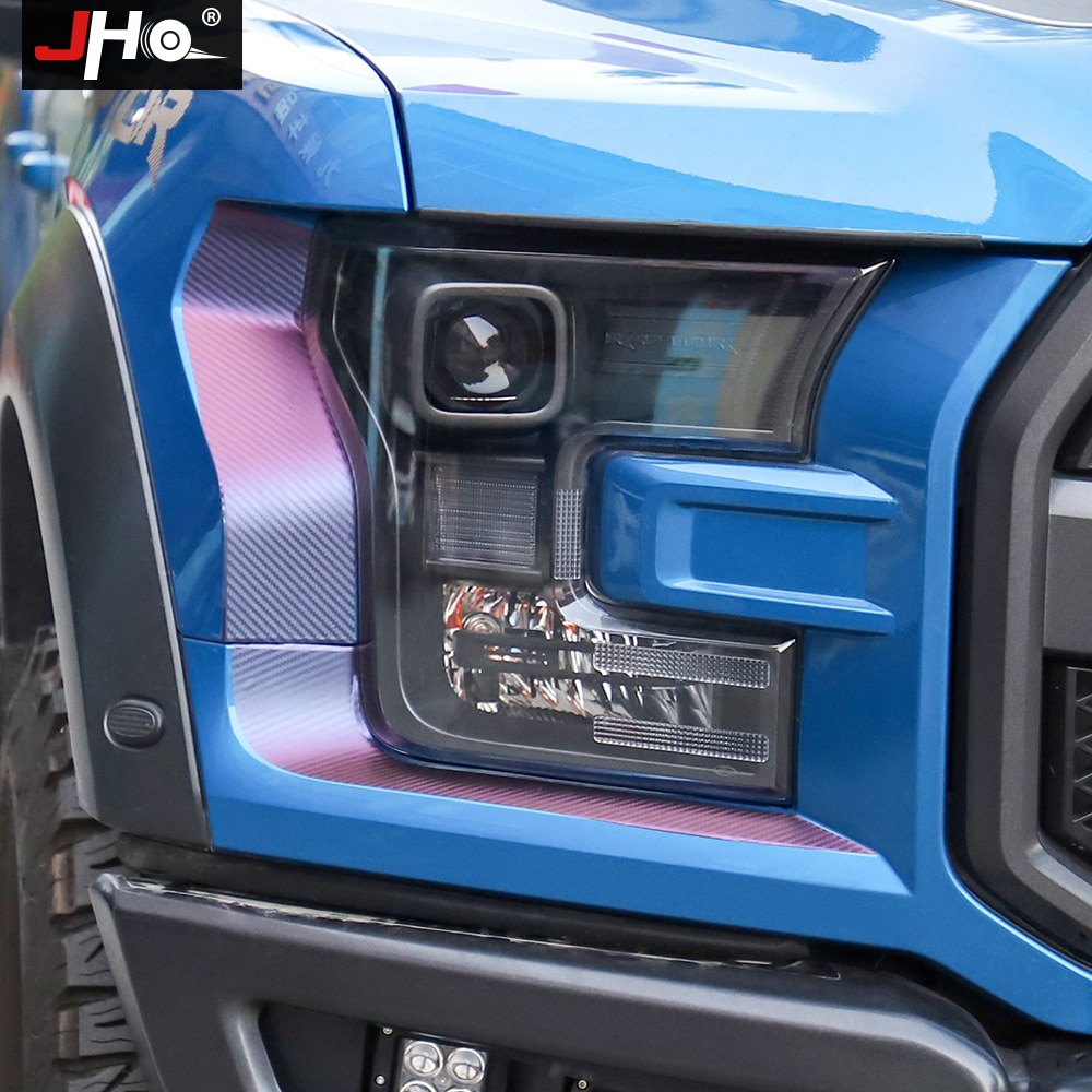 JHO Pickup akcesoria gradient Carbon Grain reflektor lampa tylna dekoracyjne naklejki na lata 2017-2019 Ford F150 RAPTOR 2018