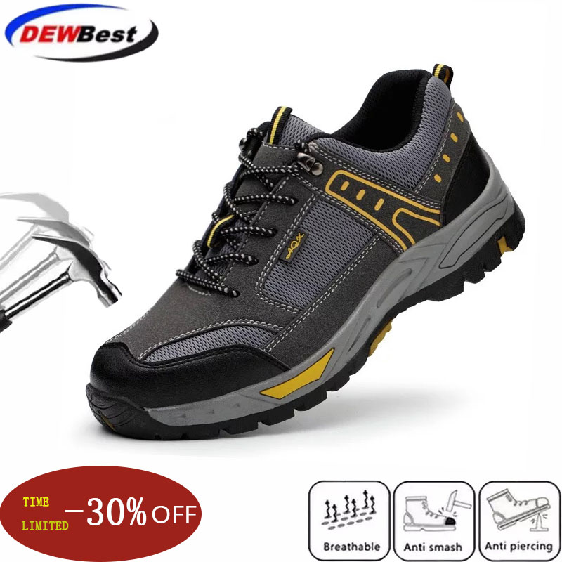 Dewbest41 الرجال الصلب اصبع القدم حذاء امن للعمل عارضة تنفس في الهواء الطلق رياضية ثقب واقية الأحذية مريحة الأحذية الصناعي