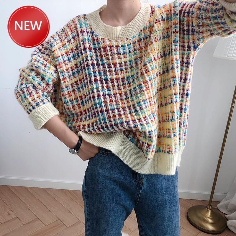 Jersey para mujer, suéter arcoíris, nuevo Otoño Invierno, ropa coreana para mujer, ropa de gran tamaño para mujer, 2020