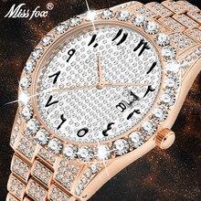 MISSFOX Dropshipping 아랍어 숫자 다이아몬드 시계 남자 로즈 골드 럭셔리 브랜드 시계 3Atm 일본 Movt FF 독특한 남자 손목 시계