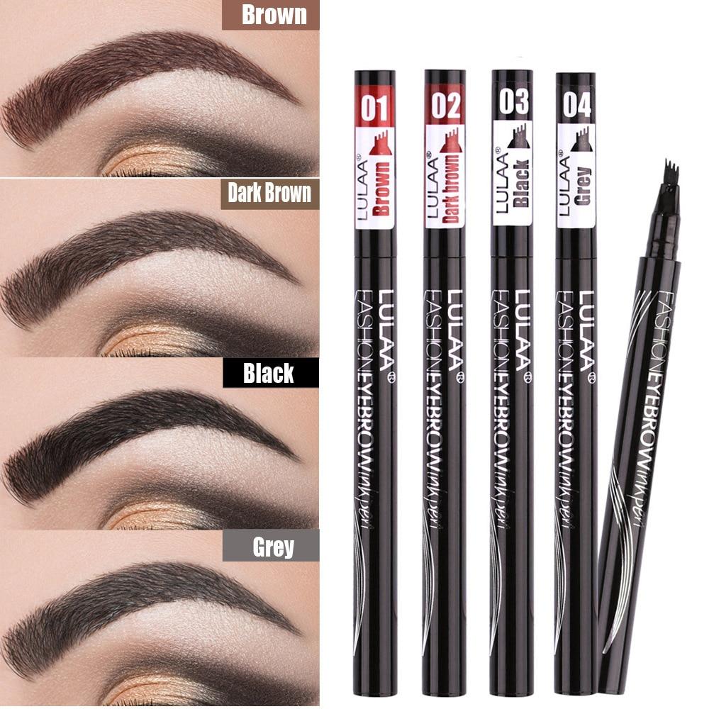 Waterproof Natural Eyebrow Pen Four-claw Eye Brow Tint Makeup three Colors Eyebrow Pencil Brown Blac