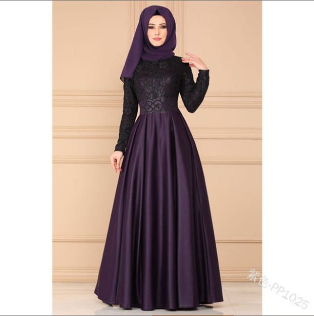 Muslim European and American lace stitching retro dress national style long sleeve slim fitting