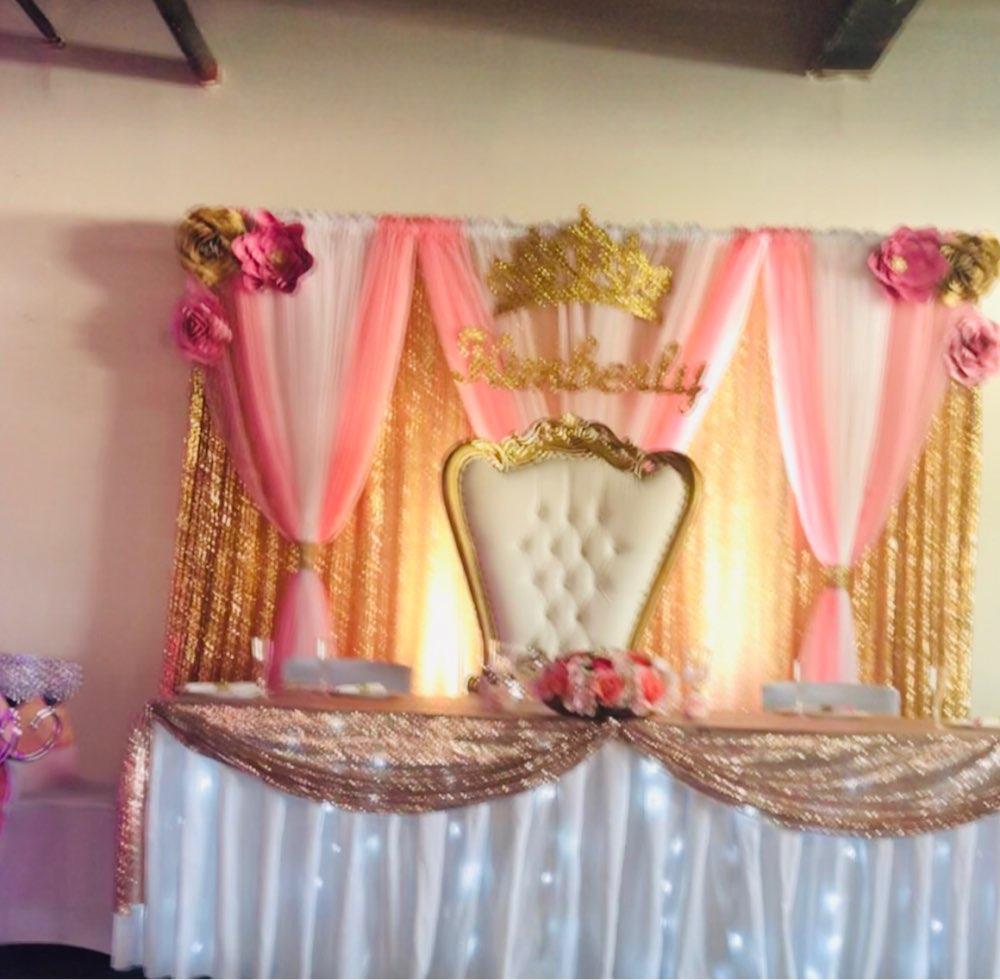 Telón de fondo de escenario de 10x20 pies cortina de lentejuelas doradas un panel y fondo de boda de gasa Rosa Blanco un panel