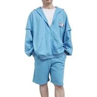 hip hop mens hoodiespants sets summer embroidery sleeves detachable hooded sweatshirt sweatpants fashion male hoodie pant