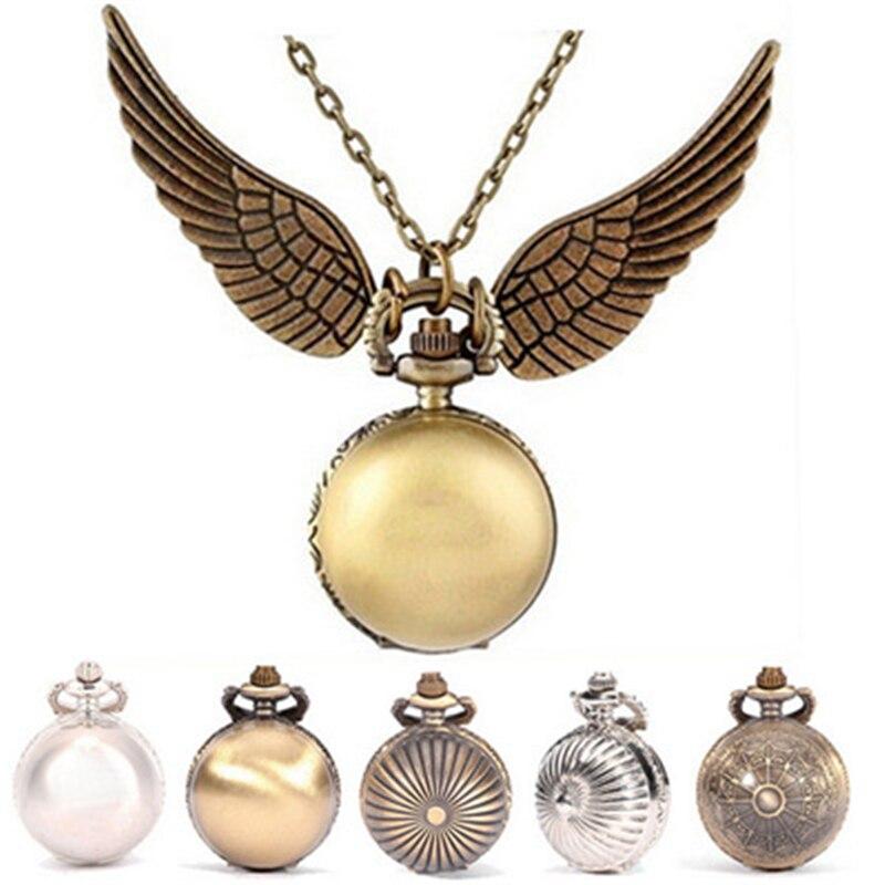 Harried Golden Wings Snitch Toy Watch harrid película reloj de bolsillo de cuarzo collar Quidditch bolas Snitch collar de juguete