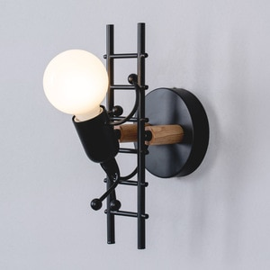 BEIAIDI Novelty Cartoon Doll Climbing Stair LED Wall Light Indoor Balcony Aisle Stair Wall Sconce Baby Kids Bedroom Bedside Lamp