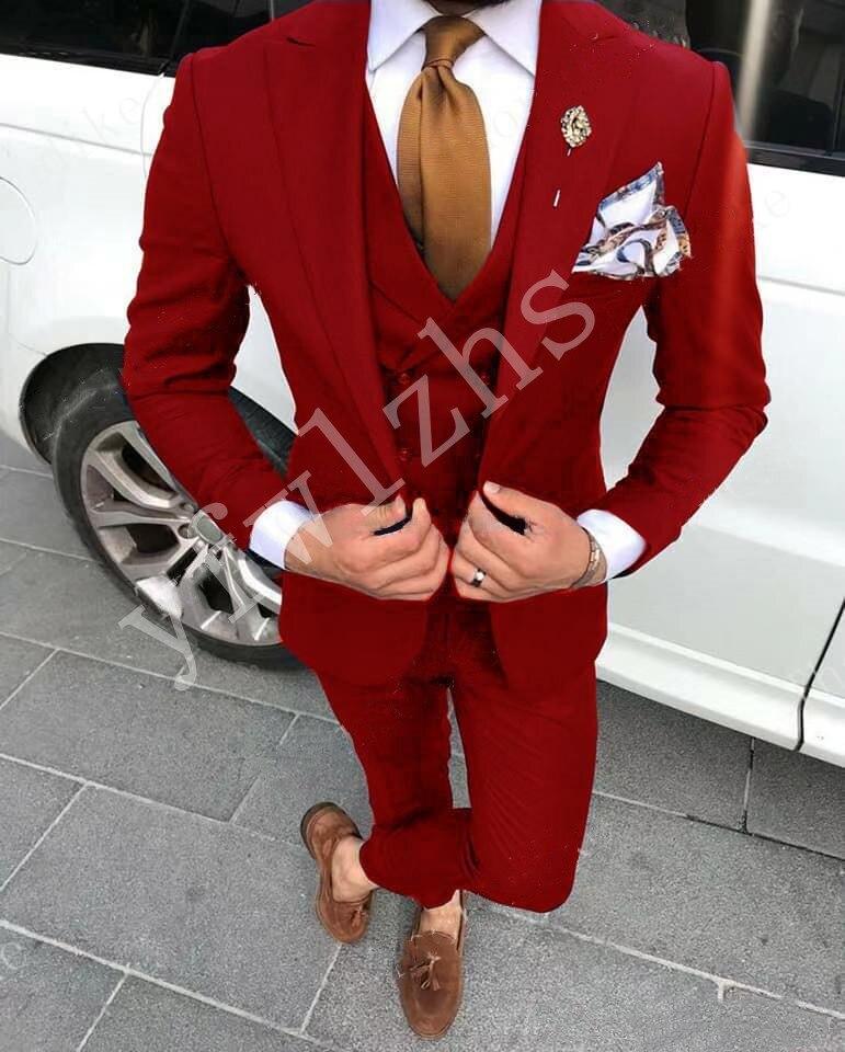 بدلة رجالية أنيقة بزر واحد ، بدلة زفاف ، وحفلات التخرج ، أفضل سترة للرجال (جاكيت + بنطلون + سترة ربطة عنق) 966
