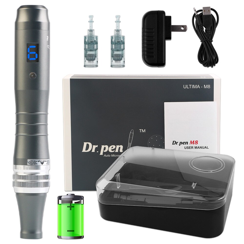 Dr Pen Ultima M8 2pcs Cartridges Rechargeable Dermapen Skin Care Kit Microneedle Therapy Rolling System Home Beauty Machine