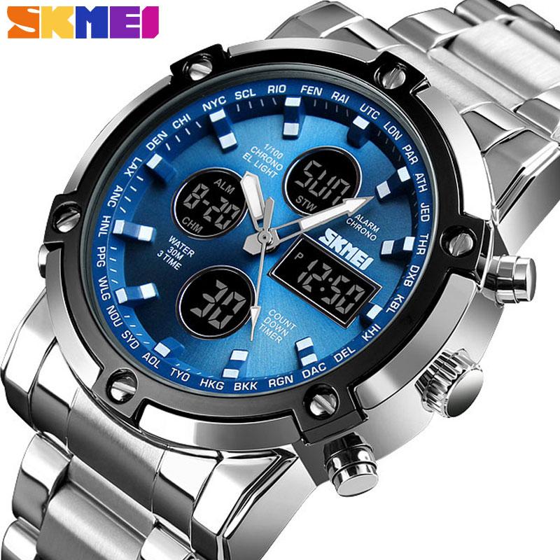Reloj Digital SKMEI para hombre, reloj deportivo de moda, cuenta atrás, correa de acero inoxidable, reloj de pulsera para hombre, reloj de cuarzo, reloj Masculino 1389