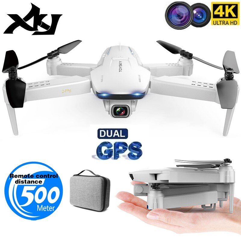 XKJ GPS Drone S162 4K 1080P cámara HD 5G WIFI FPV Quadcopter plegable retorno de una tecla RC distancia 500 metros de larga duración de la batería