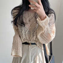 Korean Chic  Hoodies Neck Pullover Loose Light Sunscreen Sweater Hollowed Out Fashion Short Blouse L