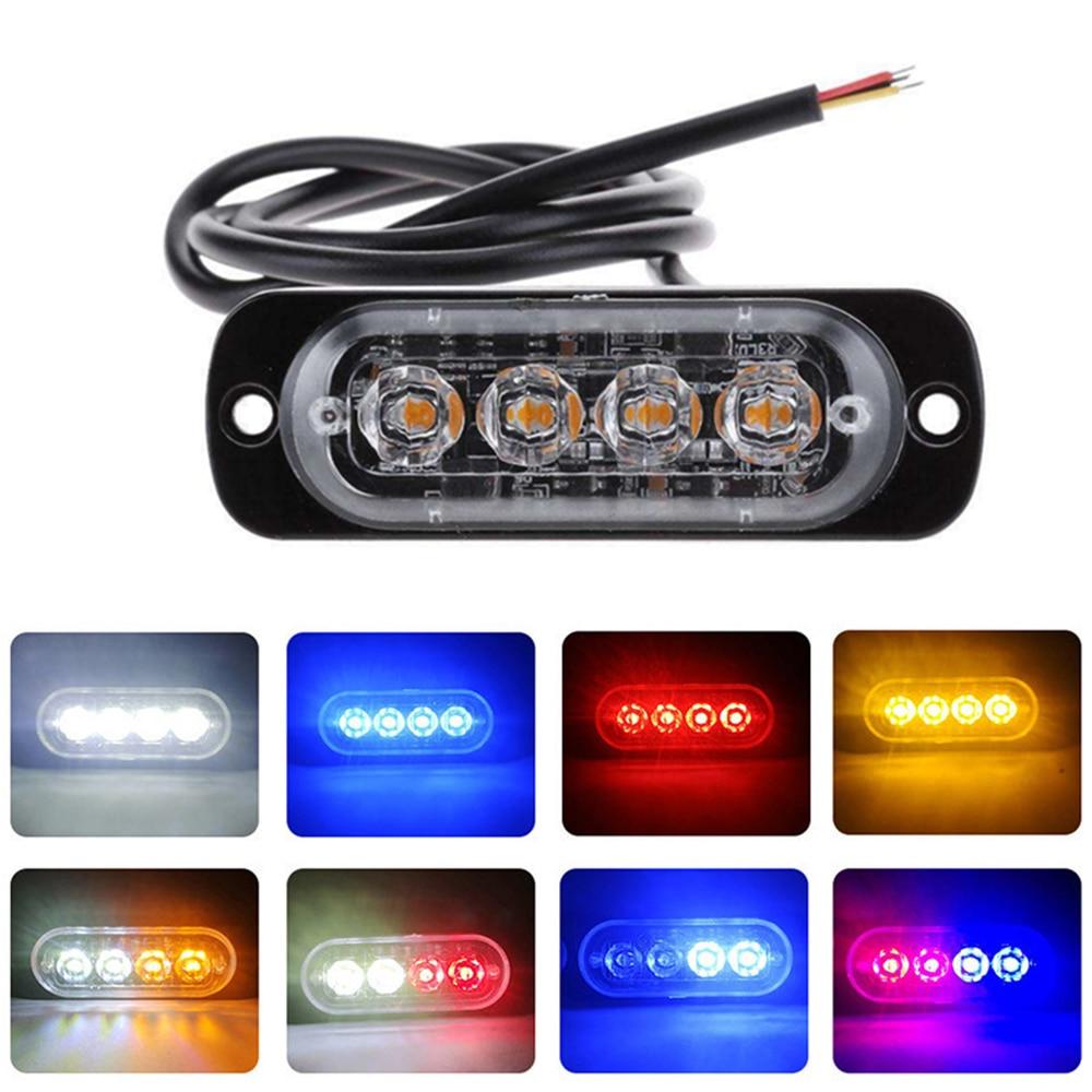 4Led Car Strobe Warning Light Grille Flashing Lightbar Motorcycle Auto Truck Trailer Beacon Lamp Amber Traffic Light 12V - 24V